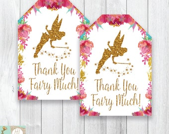 Thank You Tags, Fairy Party Favor Gift Tags, Fairy Birthday Party, Birthday Party, Fairy Party Decor, Floral Gift Tags, Instant Download