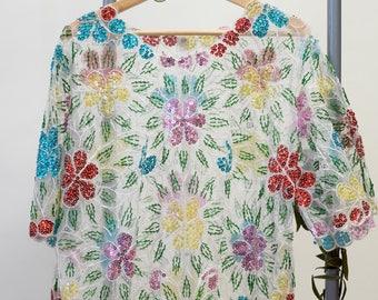 Sequinced Embellished Floral Sheer Top / M