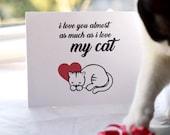 """Cat Love Card """"I Lov..."""