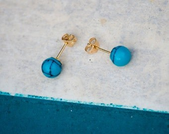 Turquoise Post Earrings, Turquoise Studs, Gold Stud Earrings, Gold Jewelry, Gold Turquoise Studs, 14k Gold Earrings, Turquoise Ball Earrings
