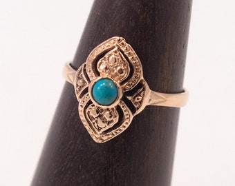 Turquoise Ring - Rose Gold Ring - Turquoise Gold Ring - Vintage Turquoise Ring - Vintage Gold Ring - 14k Rose Gold - 14K Turquoise Ring