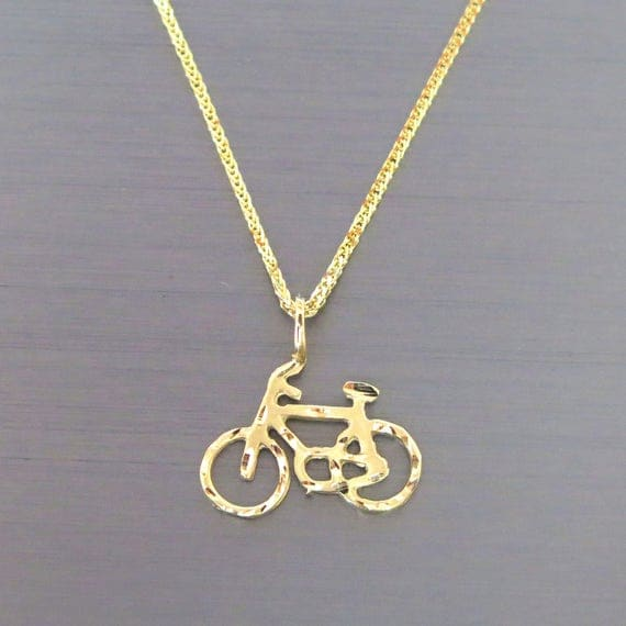 Bicycle pendant 14k gold bicycle pendant bicycle neckalce like this item aloadofball Gallery