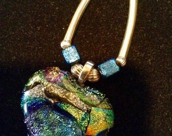 Dichroic Glass Heart Pendant and Stainless Steel Necklace (NECK-DICHRO4)