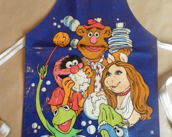 Vintage Muppets childs PVC apron, 1978, Miss Piggy, Kermit the Frog, Fozzie Bear