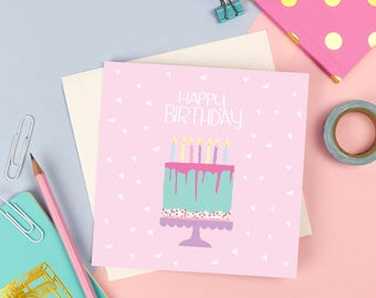 ON SALE: Happy Birthday Card | Cute cake female square greetings card