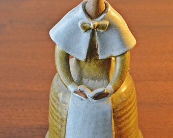 Pottery Woman Bell, Vintage Pottery, Vintage Bell, Pottery Sculpture