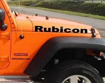 2 x Jeep Wrangler Rubicon Decal set of TWO stickers hood fender bumper custom TJ JK cj yj  vinyl Personalized Graphics design Lettering