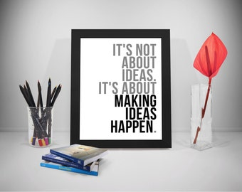 Idea Quote Printable, Making Happens Quote, Office Motivation Quote, Business Quotes, Work Quotes Print, Office Decor, Office Art