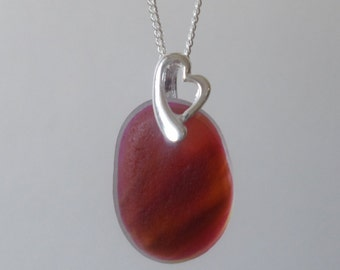 Red End of Day Sea Glass Necklace Pendant, Seaglass, Beach Glass, Sterling Silver, Beach Jewelry, Sea Glass Pendant, Seaham, Multi