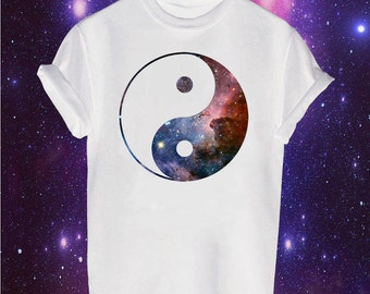 Galaxy Yin Yang printed t-shirt karma balance outer space colourful indie hipster cult