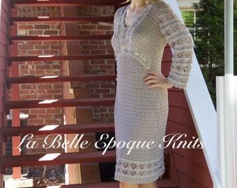Hand knitted lace dress, special occasion dress women dress knit dress handmade, day dress, Crochet dress,