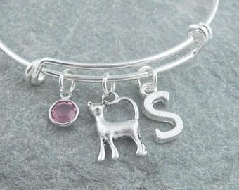 Cat bracelet, silver cat jewelry, initial bracelet, swarovski birthstone, personalized jewelry, cat charm bracelet, adjustable silver bangle