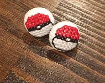 Poke Ball Cross Stitch Earrings