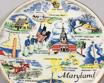 Vintage Kitschy Midcentury Small Maryland Decorative Plate