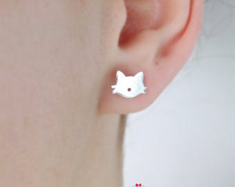 Tiny Cat Stud Earrings   Cat Earrings   Silver Cat Stud   Tiny Kitty Stud   Earrings cat   Cat Lover   Pair of earrings Silver Cat