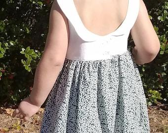 Easter Dress - Toddler Easter Outfit - 2T Dress - 3T Dress - 4T Dress - 5T Dress - Green and White Dress - Spring Dress - Green Leaf Dress