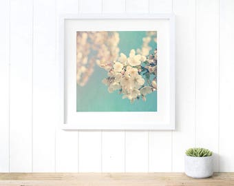 Blossom spring decor ideas 2017, large blue artwork, romantic art bedroom, extra large artwork, above bed decor, nature lover gifts