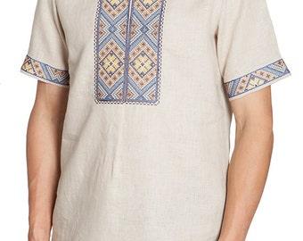 Short sleeves men's linen shirt. Ukrainian vyshyvanka. Men's embroidered shirt. Traditional clothing. In stock.Free Shipping