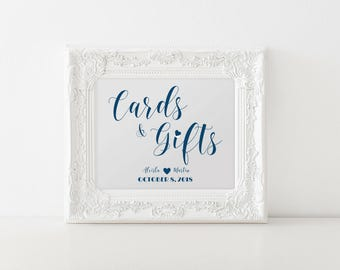 Cards And Gifts Sign, Navy Wedding Sign, Wedding Gift Table, DIY Wedding All Sizes Inc 8x10 SKU# CWS305_1122C