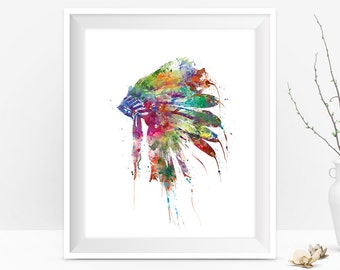 Headdress Art, Native American Indian Headdress Print, Wall Art, Painting Watercolor Print, Wall Hanging Gift idea Digital Download