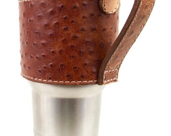 Brown Ostrich leather Yeti Cup Sleeve w/ Handle