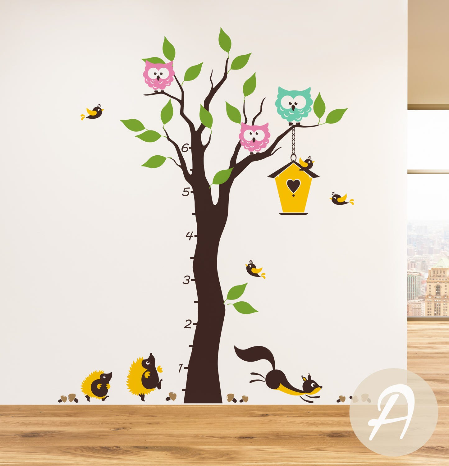 Growth chart colorful tree wall decal wall decal with zoom amipublicfo Gallery