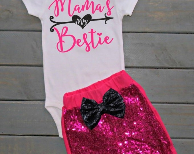 Mama's My Bestie Outfit, Girls' Clothing, Cute Baby Clothing, Baby Shower Gift, Mother's Day Gift, MIni Mama