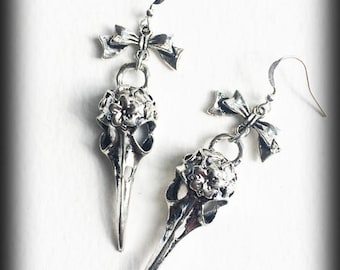 Raven Skull Earrings, Crow Skull Earrings, Gothic Earrings, Bird Skull Earrings, Antique Silver, Gothic Jewelry, Alternative Jewelry