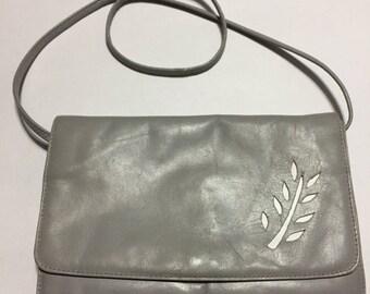 Genuine Leather - Grey Leather Shoulder Purse - Shoulder Bag - Uruguay