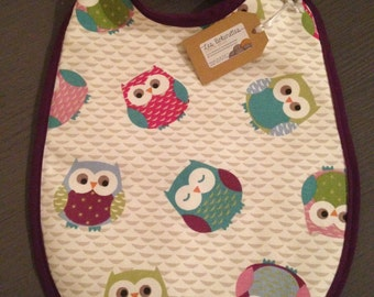 Multicolored OWL print baby bibs