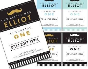 little man birthday invitation,mustache invitation,little man birthday,mustache birthday,black and gold invitation,gold mustache invitation