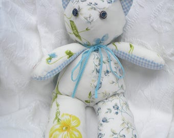 Shabby Chic Teddy Bear. Vintage Sheets. Blue Floral. Vintage buttons. Home Decor. Nursery Decor. One-of-a-Kind. Stuffed Animal