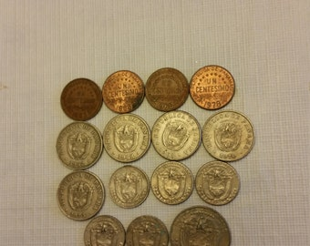 15 panama vintage coins 1962 - 1978  / centesimo balboa coin lot - world foreign collector money numismatic a12