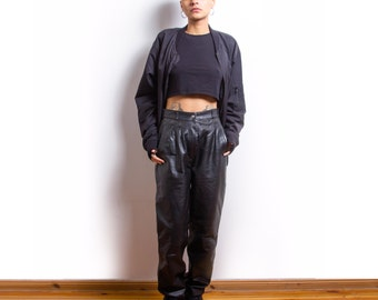 Vintage 80s Black Grunge Punk High Waisted Leather Trousers