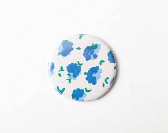 Blue Flowers - A Pocket Mirror made from Vintage Fabric, 58mm 2.3 Inches, Vintage Floral