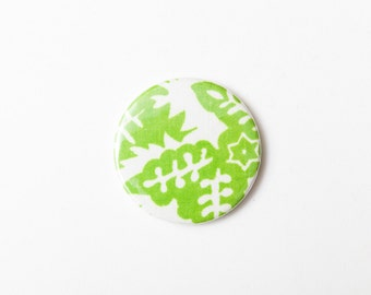 Green Leaves - A Pocket Mirror made from Vintage Fabric, 58mm 2.3 Inches, Vintage Floral