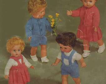 Dolls Clothes PDF Knitting Pattern : 10, 12, 14 and 16 inch high dolly . Boy and Girl Doll . Doll Outfit Pattern . Instant Digital Download