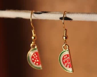 Watermelon Earrings, Fruit Earrings, Summer Earrings, Tropical Earrings, Gold, Red, Watermelon Jewelry