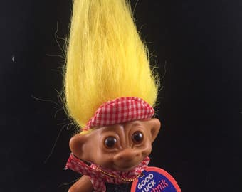 Uneeda Wishnik Good Luck Troll  3 Inches With Overalls And Yellow Hair