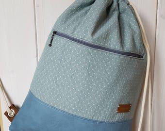 Rucksack, Turnbeutel, Matchsack, Backpack aus Baumwoll-Webstoff und Kunstleder, Backpack Made From Cotton and Vegan Leather