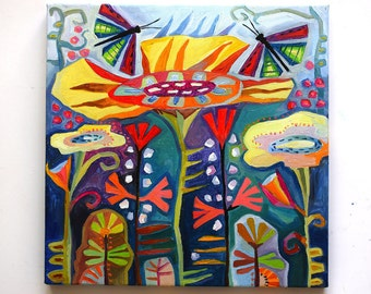 Flowers and butterflies Painting art work Oil painting on canvas Original painting on canvas Folk art painting Abstract oil painting flowers