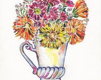 Bouquet watercolor, Wildflowers print, Bouquet art, Colorful bouquet, Floral still life, Floral art, Collectible art, Gallery wall art,