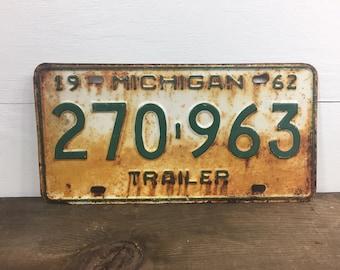 Vintage License Plate, Michigan License Plate, Man Cave, Rustic Decor, Rustic, Industrial Decor, 1960's, Michigan, Trailer License Plate.