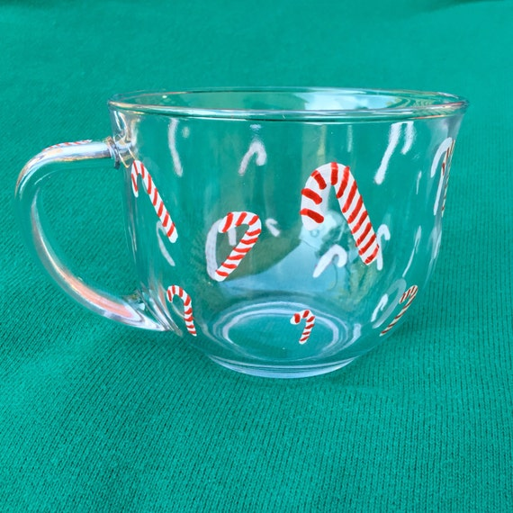 Candy Cane Glass Mug Christmas Coffee Mug Large Glass Mug