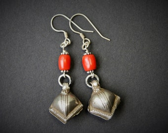 Antique Tibetan Coral and Old Tribal Silver Earrings