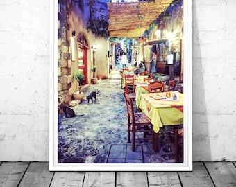 Greece photography, Cats Print, Greece wall art, meditarranean wall art, Greece Prints, Greek taverna, Monemvasia Digital download