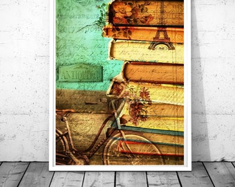 Typography print Books Paris Print fashion Paris vintage Books Wall Art Paris Photography Bicycle bike Photography Antique vintage poster