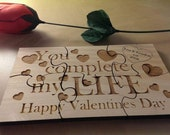 Personalised bespoke solid wood laser cut jigsaw Valentines day gift.