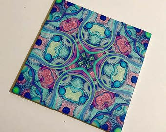 Rings Kitchen Wall Tile - Kaleidoscope Circles Silk Painting Print - Blue, Pink & Purple Bohemian Decor - Bathroom Wall Tile - Tile Coaster