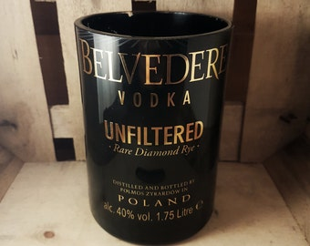 Upcycled Belvedere Unfiltered Vodka Bottle Candle